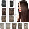 "metal Clip Remi Virgem  in Hair Extensions 115 Grams 8 Pieces/set Straight 22"" Blonde Brown Natural Hair Clip ins Free Shipping"