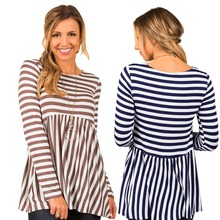 New spring and autumn hot fashion personality round neck stitching stripe loose long sleeve casual ladies sexy T-shirt stripe pattern round neck stitching design t shirt in black