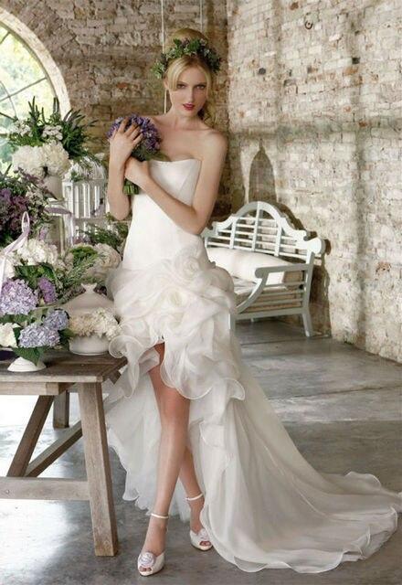 2015 verano nuevo blanco o marfil sin tirantes del Organza partido corto vestido de boda vestido con Cocktail tren por encargo tamaño