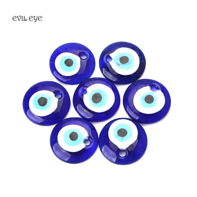 1pc 30/40/50mm Classic Blue Glass Evil Eye Necklace Pendent Fashion Simple Evil Eye Charm For Diy Jewelry Making Accessories