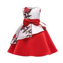 China Design Style Party Tutu Dress Red Casual Girl Clothing Brand Baby Summer Dresses For Wedding Costume Flowers