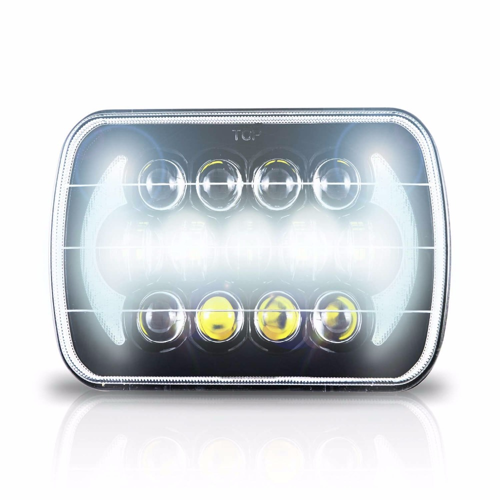 105W 7X6 Black LED DOT HID Light Bulbs Clear Sealed Beam Headlamp Headlight 1 Lamp H4