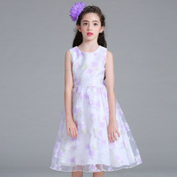 2017 New Style Fashion Print Flower Girl Dress For Wedding Girls Christmas Party Dress For 2