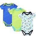 3 Peças/set Bodysuit Do Bebê Recém-nascido Corpo Impressão Terno Moda Bebê Infantil Menina Menino Criança Jumpers de Manga Curta Bodysuit Infantil