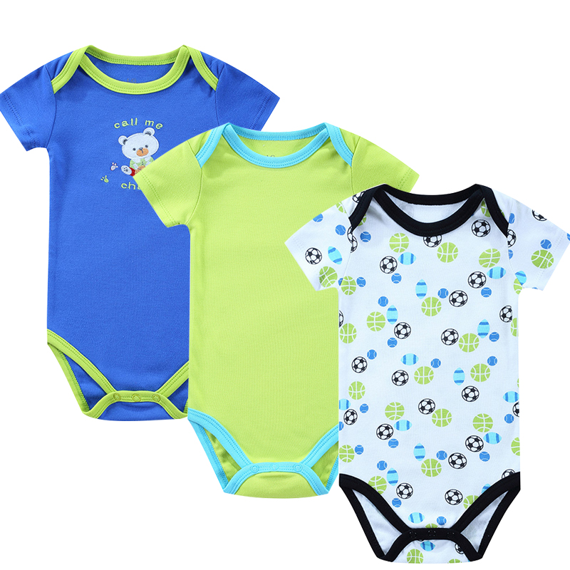 3 Pieces/Set Baby Bodysuit Newborn Print Body Suit Fashion Baby Children Girl Boy Short Sleeve Toddler Jumpers Infant Bodysuit