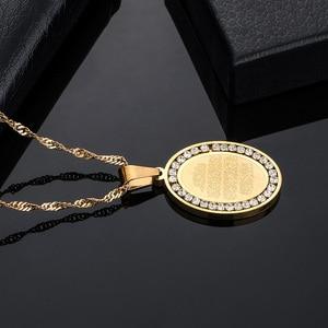 Image 2 - Herren Edelstahl Gold Ton Oval Strass Umgeben Allah Anhänger & Halskette Islamischen Arabisch Gott Islam Muslimischen Schmuck Geschenk