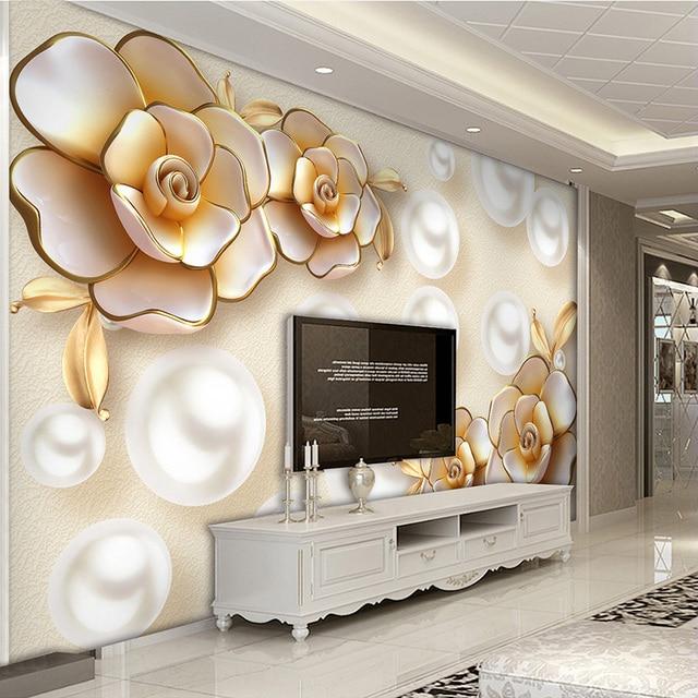 A Eropa Mewah Emas Berlian Bunga Mutiara Perhiasan Foto Mural Wallpaper Ruang Tamu Latar Belakang Dinding