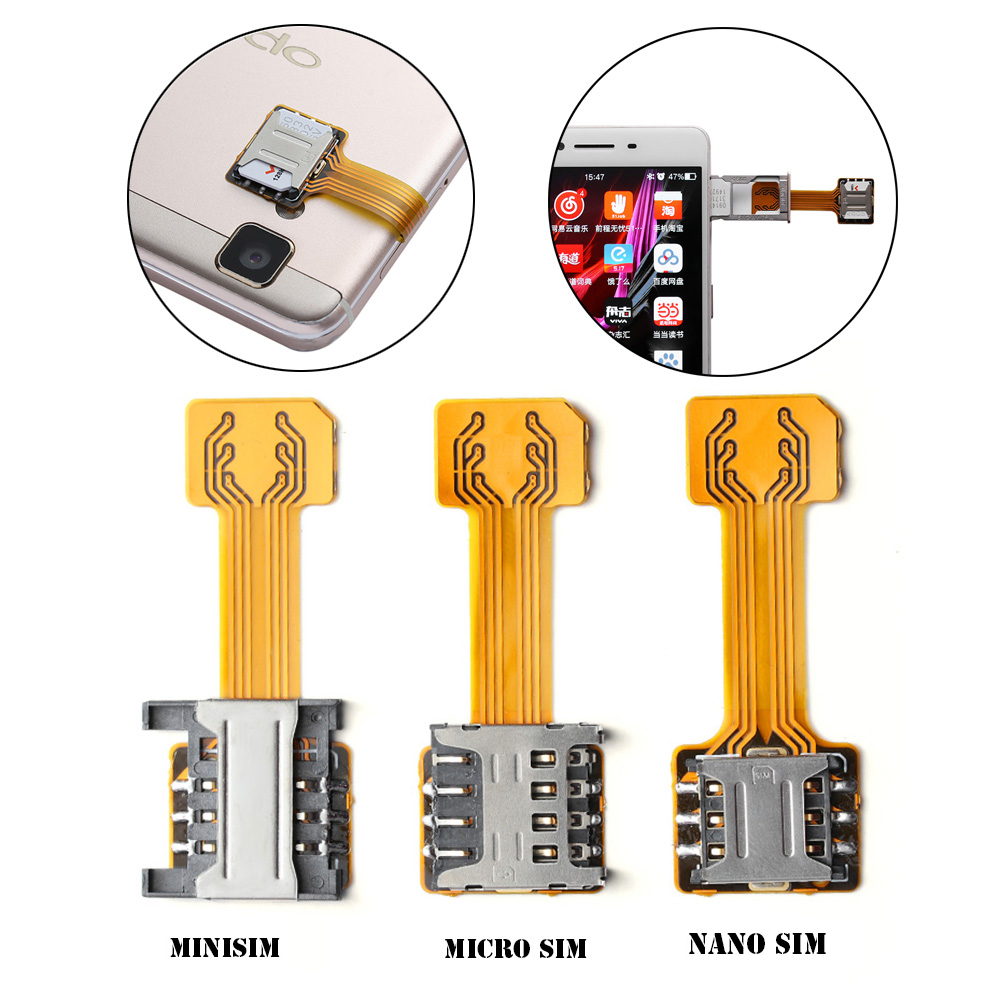 Wholesale Price!!Universal Practical TF Hybrid Sim Slot Dual SIM Extender Card Adapter Micro SD Extender Nano Cato Android Phone(China)