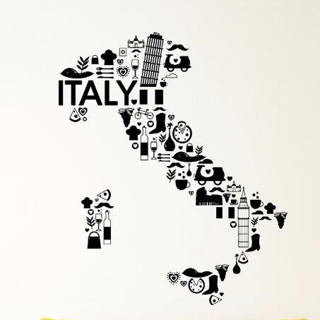 Italy Vinyl Wall Decal Italy Pizza Wine Pasta France