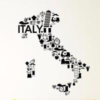 Italy Vinyl Wall Decal Italy Pizza Wine Pasta France Bicycle Grape Mural Art Wall Sticker Coffee Shop Bar Restaurant Decoration