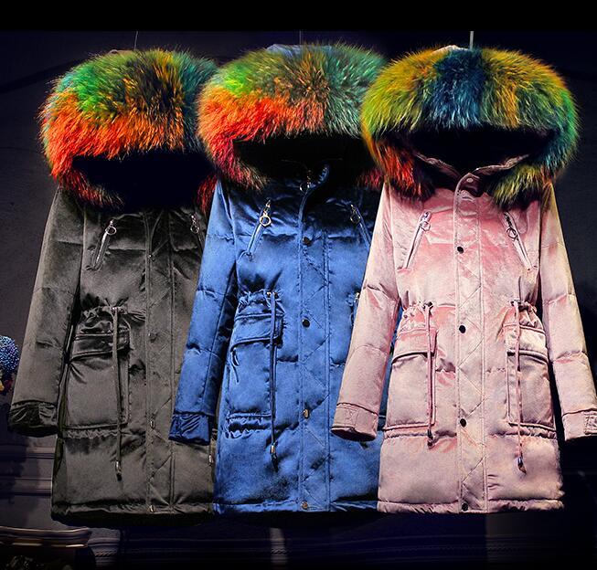 Real Raccoon fur Brand 2017 Winter jacket women down jackets womens Duck down outerwear coat long down coats parka overcoats