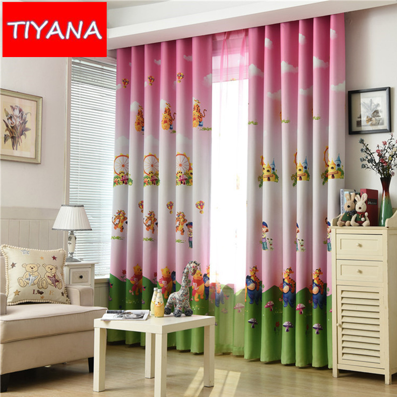 Cute cartoon bear pink curtains for living room blackout for Fabrics for children s rooms