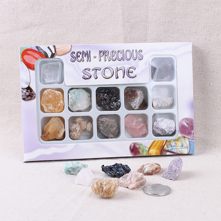 Natural Crystal Original Ore Stone Specimen 12 Species Mixture Mineral Geology Teaching Material Science For Student Gift