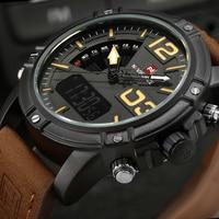 Top Luxury Brand NAVIFORCE Watches Men Leather Digital Quartz Watch Man Military Casual Sports Wrist Watch