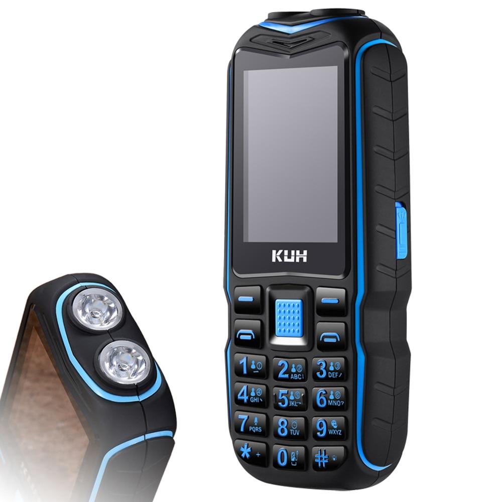 KUH resistente al aire libre teléfono móvil espera largo Banco Bluetooth vibración Dual linterna 15800 mAh altavoz
