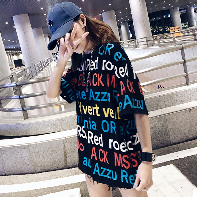 2018 New Women Spring Fall Colorful Letter Print Fashion Loose T-shirt Half Sleeve Japan Style Sweet Street Clothing T Shirt 1