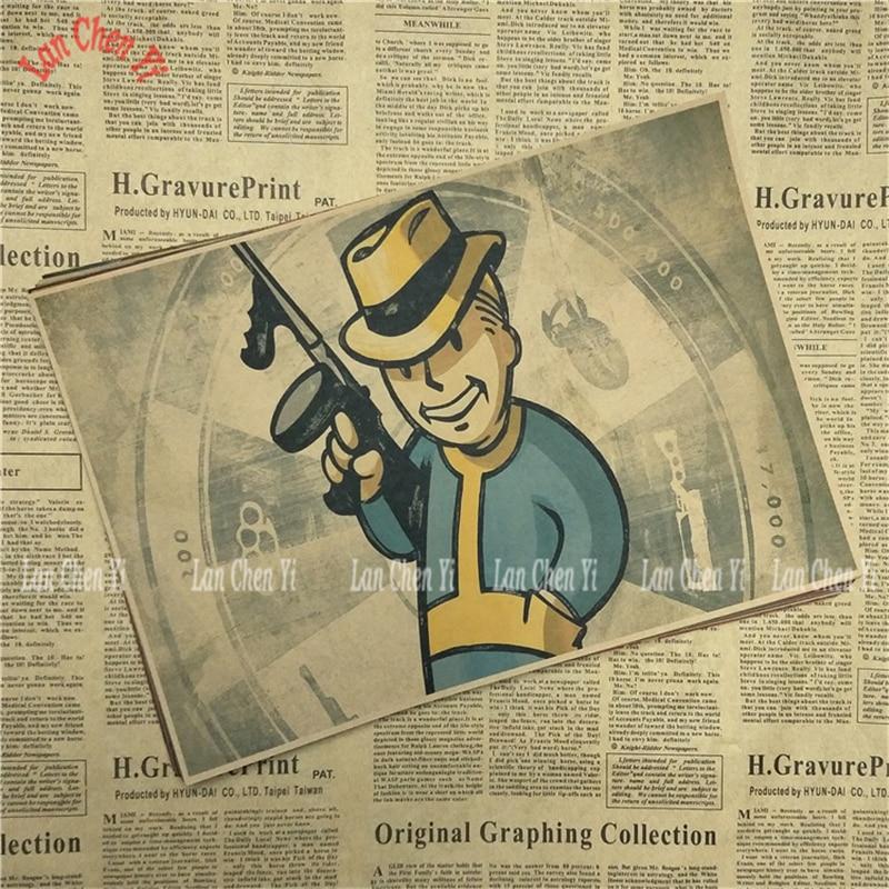 Fallout Klasik Oyunu Kraft Kağıt Afiş Bar Cafe Oturma Odası Yemek - Ev Dekoru - Fotoğraf 5