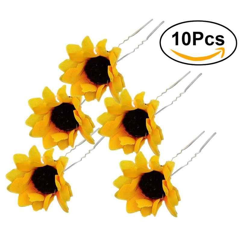 b048560e5cc0f 10PCS Women Sunflower Bridal Wedding Hair Pins Hair Clips Hairstlye  Accessory Hairpin Hair Decoration Wedding Accessory Jewelry