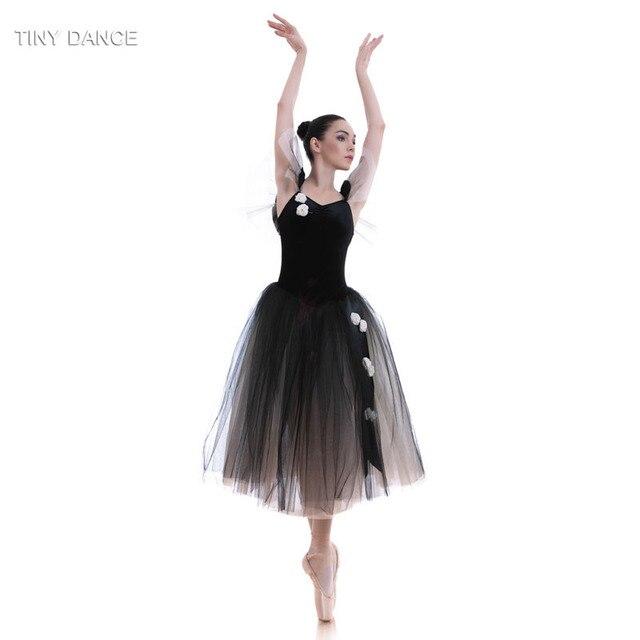 2018 niños y adultos Ballet Dance traje terciopelo negro romántico ...