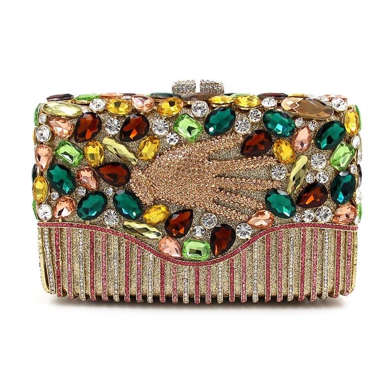 New Single Side Figer Diamond Crystal Evening Bags Clutch  Rhinestones Handbag Hot Styling Day Clutches Lady Wedding Women Purse