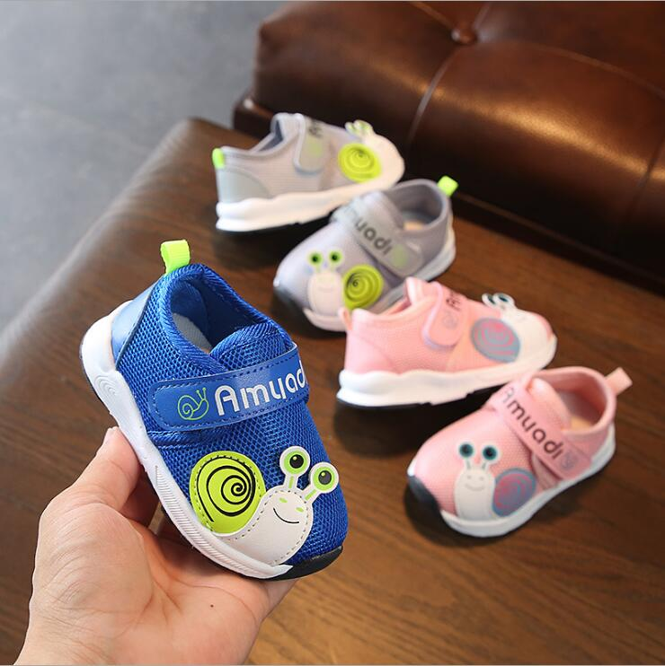 Spring Autumn Baby Girls Boys Casual Shoes Snails Air Mesh Toddler Shoes 3color 0-2years 15-19 Q12 TX09