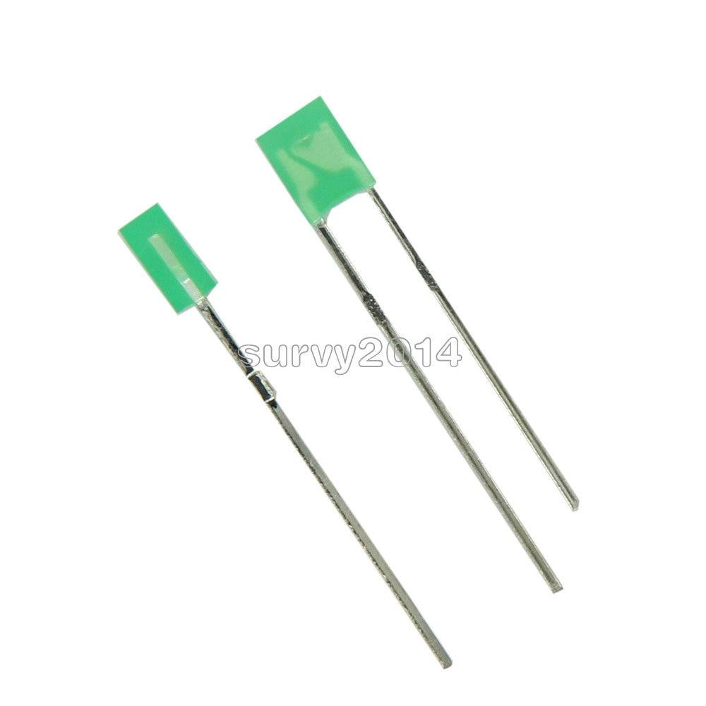 50PCS 2x3x4mm Rectangle LED Green Colou Green Light Emitting Diode NEW