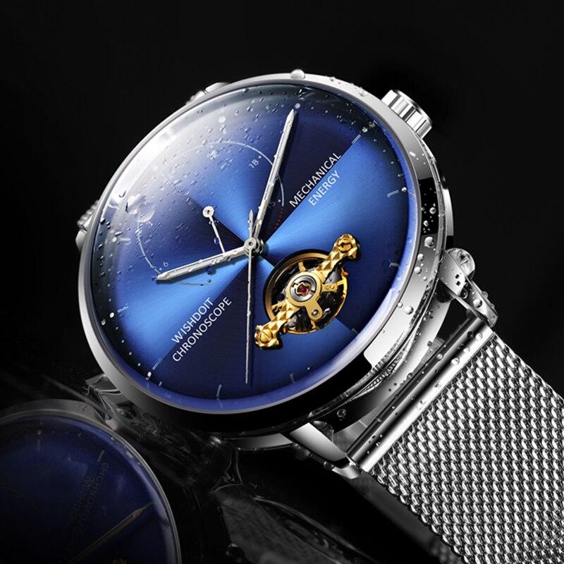 WISHDOIT New Mens Relógios cinto De Malha De Luxo Tourbillon Relógio Mecânico Automático Homens de Negócios À Prova D' Água Assista Relogio masculino