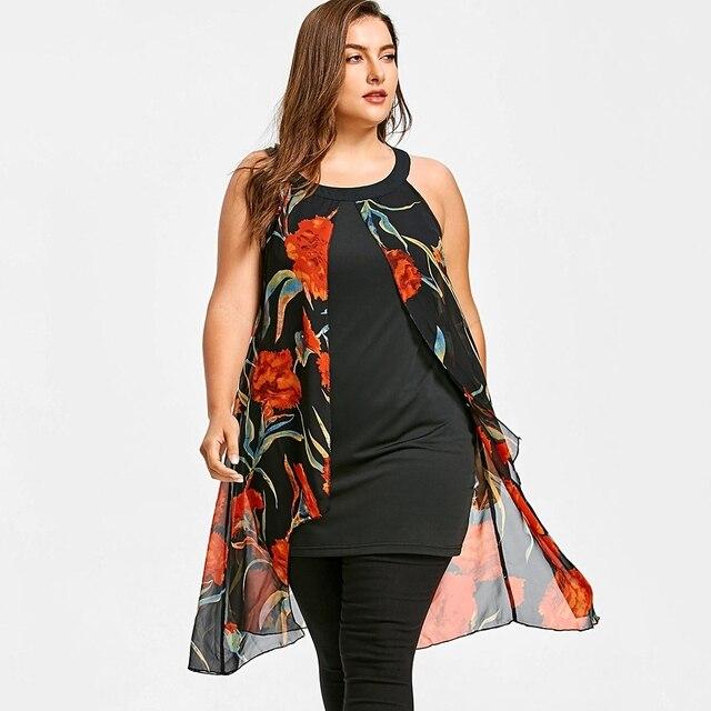91a08799f4b Plus Size Sleeveless Floral Print Long Blouse O-neck Women Loose Shirt  Micro-elastic Casual Female Top Summer Long Chiffon Top