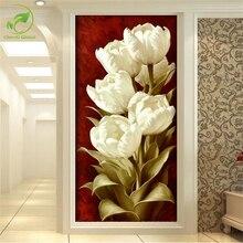 3D Eingangshalle Wandbild Weiße Tulpen Blume Dekorative Malerei Wandmalereien Vertikale Version Korridor Leinwand Malerei Wohnkultur