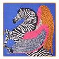 Grande Tamanho 100*100 cm Mulheres Suqare Lenço de Seda 100% Sarja De Seda mulheres Cavalo Zebra e Pena Impresso Lenço Grande Lenço Quadrado xale