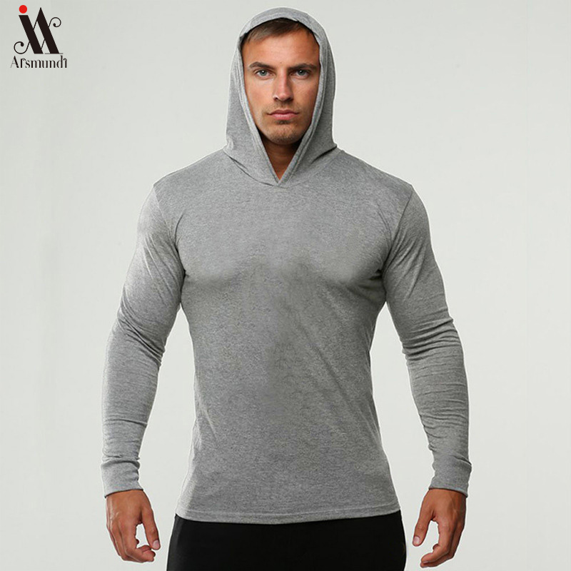 Long Sleeve Fitness Hoodies Men Autumn Thin Sweatshirt Male Sporting Slim Fit Streetwear Solid Pullover Hoodie White Gray 2019