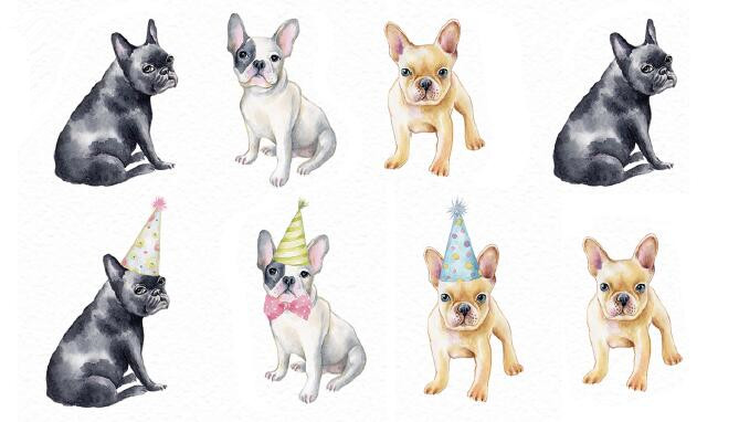 Waterproof Temporary Fake Tattoo Stickers Brown Grey Dogs Cartoon Design Body Art Make Up Tools