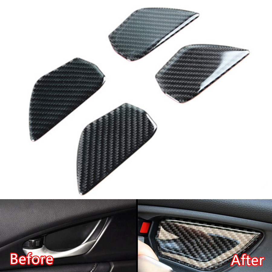 YAQUICKA Carbon Fiber Car Interior Door Handle Bowl Cover Sticker Trim Styling For Honda Civic 2016 2017 Auto Accessories