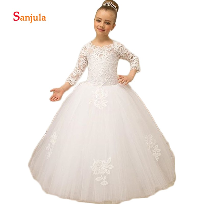 Ivory Lace 3/4 Sleeve   Flower     Girls     Dresses   O-Neck Little Princess Ball Gown Wedding Party   Dress   for Child abito comunione D353