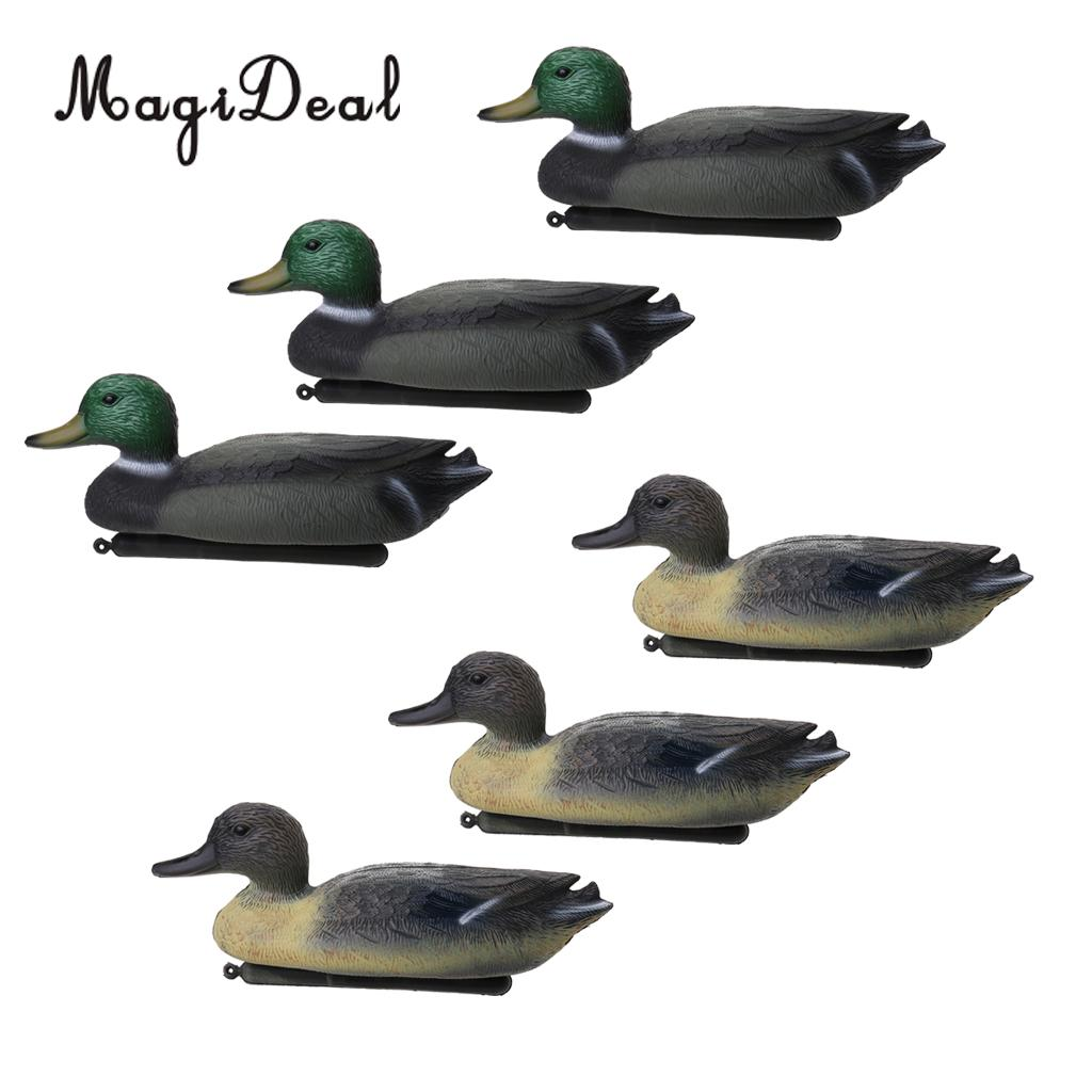 MagiDeal Professional 6 Pcs Hunting Male Duck Decoy With Floating Keel 7