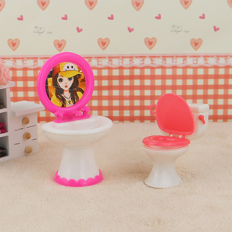 2pcs/set 1 Closestool +1 Washbasin Toilet Wash Devices For Barbie And Kelly Doll's House Furniture, Doll Accessories.