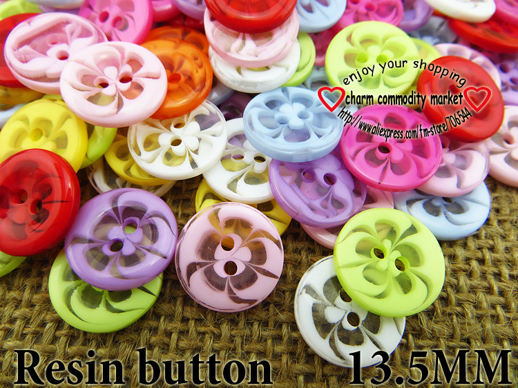 100PCS 13.5MM transparent mixed flowers shape Dyed RESIN buttons coat boots sewing clothes accessory decoration button R-135-1(China)