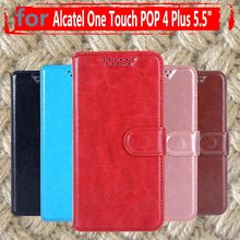 Funda trasera de cuero abatible de lujo para Alcatel One Touch POP 4 Plus 5056D 5,5 pulgadas para Alcatel Pop 4 + 5056(China)