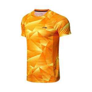 Image 3 - Li Ning, мужские футболки для бадминтона, дышащие, комфортные, для фитнеса, соревнований, верхняя подкладка, спортивные футболки, футболка, AAYN259 MTS2845