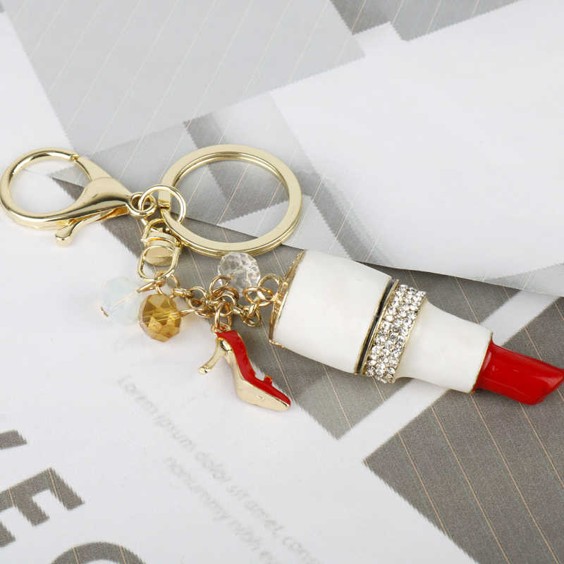 MQCHUN Hot Fashion Lady's Cute Gold Zinc Alloy Crystal Lipstick Key Chains For Keys Car Delicate Jewelry Gift -15