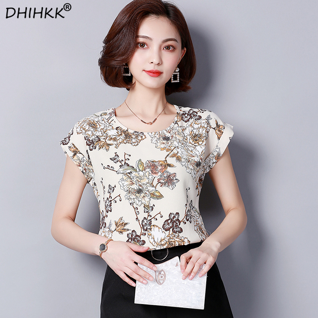 25442efeae4f4 US $7.99 40% OFF|DHIHKK 2018 Women Casual Chiffon Blouses Shirts Print  Short Sleeve O neck Femme Blouse Fashion Ladies Shirts Tops Blusas-in  Blouses & ...