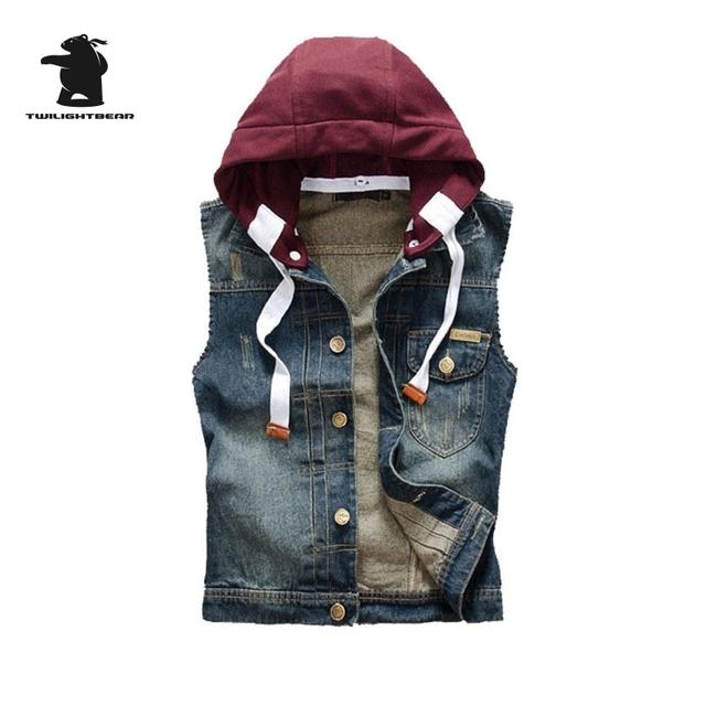 Nuevos hombres del diseñador de moda chaleco de mezclilla lavado vintage retro capucha de alta calidad más tamaño chaleco ocasional de los hombres m ~ 2xl cc4e828