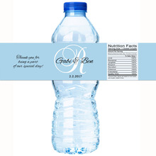 Monogram Blue Personalized Water Bottle Labels Wedding Decorations Favors Gifts Tags Personalised Candy Stickers