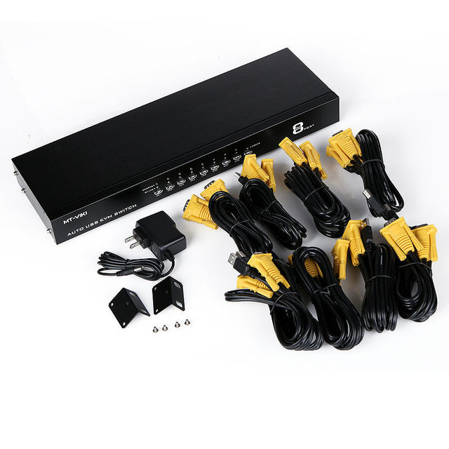 MT-VIKI 8 Port Auto Hotkey VGA KVM Switch USB Console 1 set of keyboard and mouse controls 8 computer hosts Maituo 2108UL