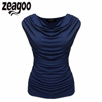 Zeagoo 2017 Women Casual T Shirt Cowl Neck Sleeveless Ruched Slim Fit Tank Tops Summer Solid