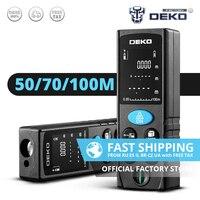 DEKO-Medidor de distancia láser LRD110, 50M, 70M, 100M, telémetro láser de doble medida, distancia/área/volumen/Pitágoras