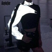 Auyiufar Reflective Women Short Jacket 2019 New Streetwear Buckle Cropped Coat One Shoulder Patchwork Female Jackets
