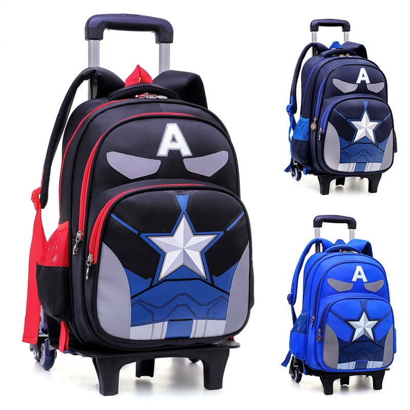 2018 NEW child Climb the stairs luggage Captain America cartoon school bag students suitcase Creative Children travel backpack 2pcs set kids luggage child pencil case school bag students boy s girls climb stairs rolling suitcase children travel backpack