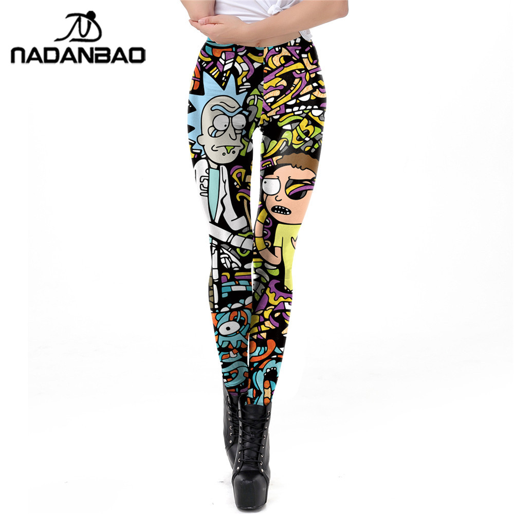 NADANBAO Cartoon Printed Leggings Women Rick And Morty Plus Size Leggin Workout Modis Fitness Legging