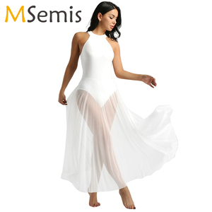 Image 1 - Балетное платье, трико для балета, Женское боди, длинное балетное платье с ложным воротником и сетчатой юбкой макси, танцевальное платье из лайкры